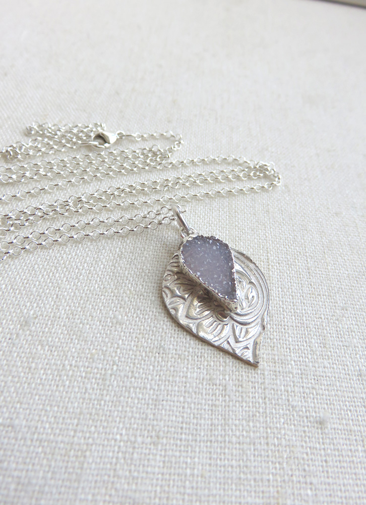 Charlotte Necklace with Druzy in Silver