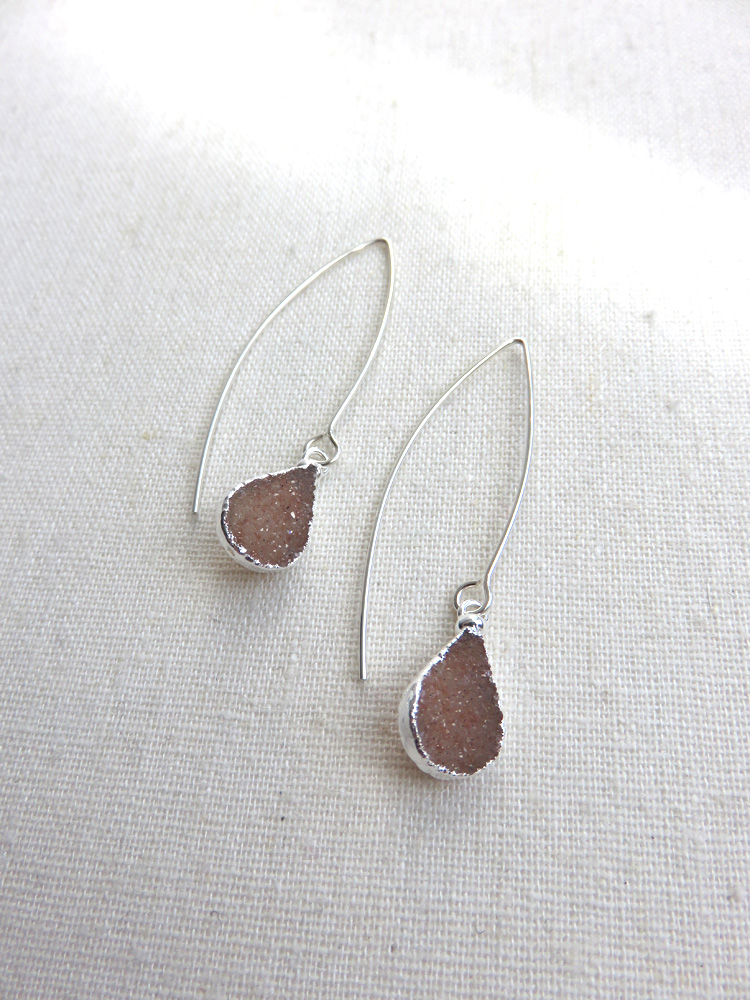 SOLD OUT - Dainty Teardrop Druzy Earrings - Long or Short