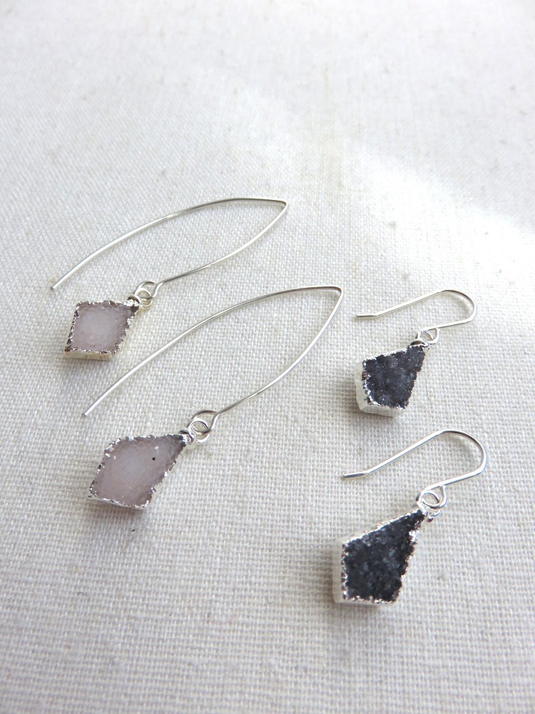 SOLD OU T- Dainty Kite Shape Druzy Earrings - Long or Short