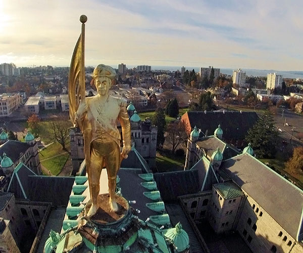 UAV roof inspection of the British Columbia Parliament Buildings - closeup of gold-covered statue of Captain George Vancouver